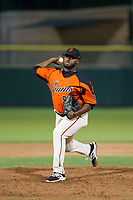 AZL Giants relief pitcher Franklin Van Gurp (55) delivers a pitch to the plate against the AZL Rangers on September 4, 2017 at Scottsdale Stadium in Scottsdale, Arizona. AZL Giants defeated the AZL Rangers 6-5 to advance to the Arizona League Championship Series. (Zachary Lucy/Four Seam Images)