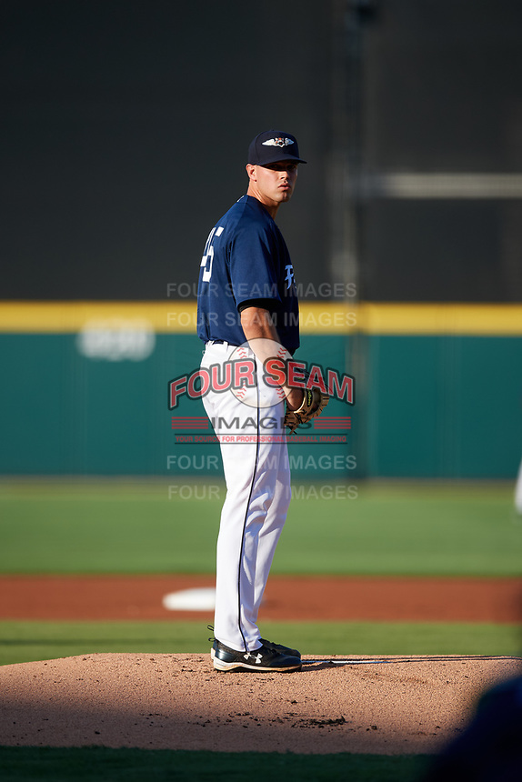 Lakeland Flying Tigers starting pitcher Austin Sodders (45) gets ready to deliver a pitch during a game against the Bradenton Marauders on April 12, 2018 at Publix Field at Joker Marchant Stadium in Lakeland, Florida.  Bradenton defeated Lakeland 5-4.  (Mike Janes/Four Seam Images)
