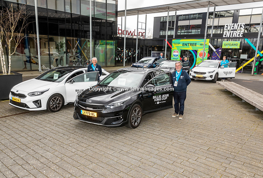 Den Bosch, The Netherlands, April 15, 2021,    Maaspoort, Billy Jean King Cup  Netherlands -  China : Drivers with KIA Cars<br /> Photo: Tennisimages/Henk Koster