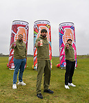 """Pictured: Members of dance troupe Diversity Jordan Banjo, Perri Kielyat and Ashley Banjo at Goodwood Aerodrome. <br /> <br /> Dance troupe Diversity, known for flying through the air in their stage performances, today took to the air outside - with jetpacks strapped to their hands.  Diversity members including founder Ashley Banjo, Jordan Banjo and Perri Kiely, donned Gravity Industries' cutting edge human-flight suit and took to the skies powered by Grenade Energy.<br /> <br /> Ashley, 32, said: """"Ahead of the day we were certain Pel would smash it, he's annoyingly very good at pretty much everything he puts his energy into.  SEE OUR COPY FOR DETAILS.<br /> <br /> © Solent News & Photo Agency<br /> UK +44 (0) 2380 458800"""