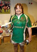 Photo: Richard Lane/Richard Lane Photography. England Legends v Ireland Legends. The Stuart Mangan Memorial Cup. 26/02/2010. Ireland's Shane Byrne celebrates with the trophy.