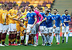 Motherwell v St Johnstone…20.10.18…   Fir Park    SPFL<br />Joe Shaughnessy leads the St Johnstone team in the pre-match handshake<br />Picture by Graeme Hart. <br />Copyright Perthshire Picture Agency<br />Tel: 01738 623350  Mobile: 07990 594431