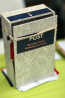 Wednesday 28 May 2014, Hay on Wye, UK<br /> Pictured: The dictionary for the Invent a Word competition for the Dylan Thomas Centenary.<br /> Re: The Hay Festival, Hay on Wye, Powys, Wales UK.