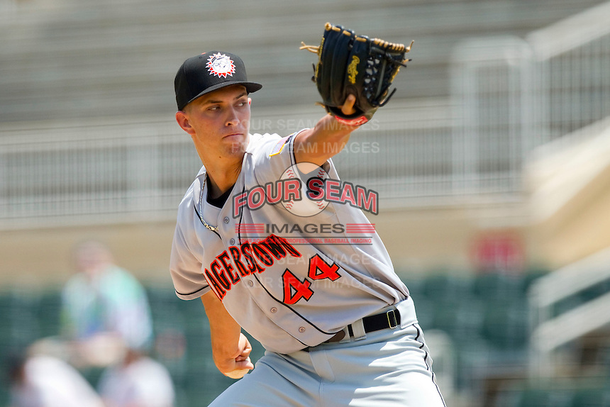 Starting pitcher A.J. Cole #44 of the Hagerstown Suns in action against the Kannapolis Intimidators at Fieldcrest Cannon Stadium on May 30, 2011 in Kannapolis, North Carolina.   Photo by Brian Westerholt / Four Seam Images