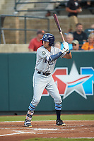 Jordan Qsar (8) of the Princeton Rays at bat against the Pulaski Yankees at Calfee Park on July 14, 2018 in Pulaski, Virginia. The Rays defeated the Yankees 13-1.  (Brian Westerholt/Four Seam Images)