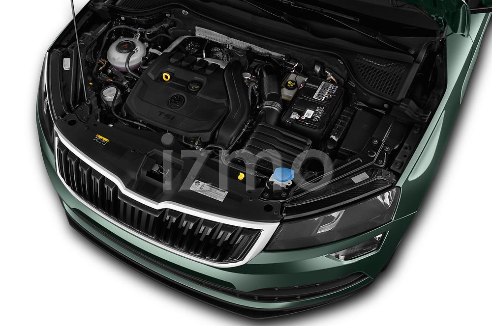 Car stock 2018 Skoda Karoq Ambition 5 Door SUV engine high angle detail view