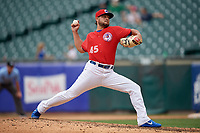 Buffalo Bisons pitcher Leonel Campos (45) delivers a pitch during a game against the Indianapolis Indians on August 17, 2017 at Coca-Cola Field in Buffalo, New York.  Buffalo defeated Indianapolis 4-1.  (Mike Janes/Four Seam Images)