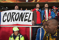 Chile fans sing their national anthem before thier 2010 World Cup match at Ellis Park Stadium.  Chile played Brazil at Ellis Park in Johannesburg, South Africa on Monday, June 28, 2010.  Brazil defeated Chile 3-0.