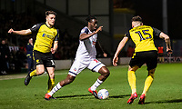 Bolton Wanderers' Josh Emmanuel (centre) competing with Burton Albion's Oliver Sarkic (left) and Reece Hutchinson <br /> <br /> Photographer Andrew Kearns/CameraSport<br /> <br /> The Premier League - Leicester City v Aston Villa - Monday 9th March 2020 - King Power Stadium - Leicester<br /> <br /> World Copyright © 2020 CameraSport. All rights reserved. 43 Linden Ave. Countesthorpe. Leicester. England. LE8 5PG - Tel: +44 (0) 116 277 4147 - admin@camerasport.com - www.camerasport.com