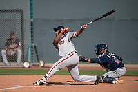 San Francisco Giants outfielder Franklin Labour (15) follows through on his swing during a Minor League Spring Training game against the Cleveland Indians at the San Francisco Giants Training Complex on March 14, 2018 in Scottsdale, Arizona. (Zachary Lucy/Four Seam Images)