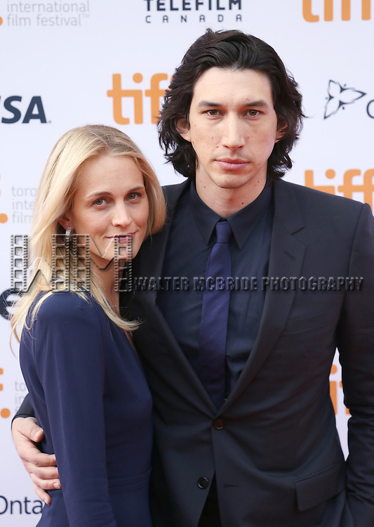 Joanne Tucker and Adam Driver attending the 'While We're Young' red carpet arrivals during the 2014 Toronto International Film Festival at the Princess of Wales Theatre on September 6, 2014 in Toronto, Canada.