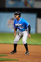 Hudson Valley Renegades outfielder Garrett Whitley (20) leads off first during a game against the Vermont Lake Monsters on September 3, 2015 at Centennial Field in Burlington, Vermont.  Vermont defeated Hudson Valley 4-1.  (Mike Janes/Four Seam Images)