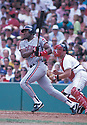 Cleveland Indians Joe Carter (30) in action during a game from his 1989 season at Fenway Park in Boston, Massachusetts. Joe Carter played for 16 years with 6 different teams.