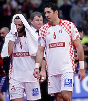Ivano Balic and Blazenko Lackovic of Croatia during men`s EHF EURO 2012 championship semifinal handball game between Serbia and Croatia in Belgrade, Serbia, Friday, January 27, 2011.  (photo: Pedja Milosavljevic / thepedja@gmail.com / +381641260959)