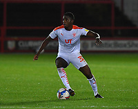 Blackpool's Beryly Lubala<br /> <br /> Photographer Dave Howarth/CameraSport<br /> <br /> EFL Trophy Northern Section Group G - Accrington Stanley v Blackpool - Tuesday 6th October 2020 - Crown Ground - Accrington<br />  <br /> World Copyright © 2020 CameraSport. All rights reserved. 43 Linden Ave. Countesthorpe. Leicester. England. LE8 5PG - Tel: +44 (0) 116 277 4147 - admin@camerasport.com - www.camerasport.com