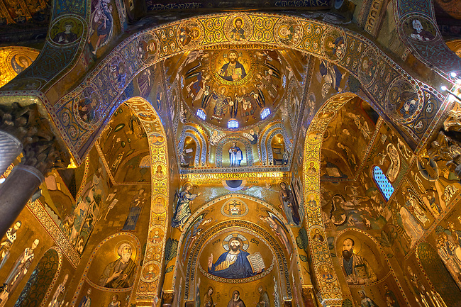 Medieval Byzantine style mosaics of the main aisle & dome of the Palatine Chapel, Cappella Palatina, Palermo, Italy