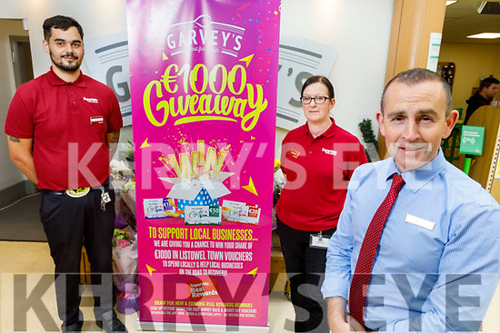 Garveys Supervalu Listowel launching their €1000 worth of vouchers giveaway to support local businesses in Listowel. <br />  Front right: Paul O'Connor (Manager),<br /> Back l to r: Eoghan Lavery and Sharon Boyle.