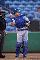 Dunedin Blue Jays catcher Zach Britton (6) during a game against the Clearwater Threshers on May 18, 2021 at BayCare Ballpark in Clearwater, Florida.  (Mike Janes/Four Seam Images)