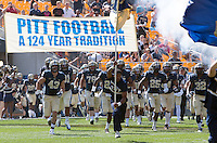Pitt takes the field. The Pitt Panthers defeated the Virginia Cavaliers 14-3 at Heinz Field, Pittsburgh, PA on Saturday, September 28, 2013.