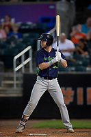 Vermont Lake Monsters Kyle McCann (33) at bat during a NY-Penn League game against the Aberdeen IronBirds on August 19, 2019 at Leidos Field at Ripken Stadium in Aberdeen, Maryland.  Aberdeen defeated Vermont 6-2.  (Mike Janes/Four Seam Images)