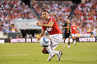 Ryan Giggs (11) of Manchester United watches a ball bounce out of bounds. Manchester United (EPL) defeated the Philadelphia Union (MLS) 1-0 during an international friendly at Lincoln Financial Field in Philadelphia, PA, on July 21, 2010.