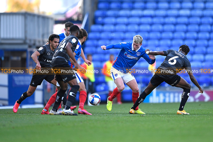 Andy Cannon of Portsmouth looks for a way through the Doncaster Rovers defence during Portsmouth vs Doncaster Rovers, Sky Bet EFL League 1 Football at Fratton Park on 17th October 2020