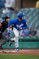 Rancho Cucamonga Quakes third baseman Rylan Bannon (25) starts down the first base line during a California League game against the Stockton Ports at Banner Island Ballpark on May 16, 2018 in Stockton, California. Rancho Cucamonga defeated Stockton 6-3. (Zachary Lucy/Four Seam Images)