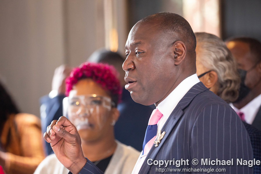 """Benjamin Crump, attorney for the family of Duante Wright, center, speaks at a press conference along with Reverend Al Sharpton and members of the """"Mother's of the Movement"""" during the National Action Network (NAN) Virtual Convention 2021 in New York on Wednesday, April 14, 2021. Photograph by Michael Nagle"""