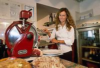 """- Italian food , typical kitchen of the Emilia region, restaurant """"Da Ivan"""" in Roccabianca (Parma), Barbara Aimi, wife of the owner<br /> <br /> - Cibo italiano, cucina tipica della regione Emilia, ristorante """"Da Ivan"""" di Roccabianca (Parma), Barbara Aimi, moglie del titolare"""