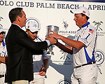 WELLINGTON, FL - APRIL 25:  Bob Jornayvaz accepts the trophy for Valiente,  as Valiente defeats Orchard Hill 13-12, in OT,  in the US Open Polo Championship Final, to win the U. S. Polo Triple Crown, at the International Polo Club Palm Beach, on April 25, 2017 in Wellington, Florida. (Photo by Liz Lamont/Eclipse Sportswire/Getty Images)