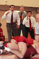 STANFORD, CA - FEBRUARY 6:  (L-R) Assistant coach Matt Gentry, assistant coach Ray Blake, and assistant coach Vic Moreno of the Stanford Cardinal during Stanford's 20-19 win against the Arizona State Sun Devils on February 6, 2009 at Burnham Pavilion in Stanford, California.