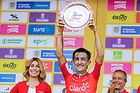 MEDELLIN - COLOMBIA, 13-02-2019: Stiven Cuesta (COL), Deprisa, celebra el premio como el mas combativo durante la segunda etapa del Tour Colombia 2.1 2019 con un recorrido de 150.5 Km, que se corrió entre La Ceja Canadá - Carmen de Viboral - Rionegro - Canadá - La Ceja. / Stiven Cuesta (COL), Deprisa, celebrates the award of the most combative during the second stage of 150.5 km of Tour Colombia 2.1 2019 that ran through La Ceja Canada - Carmen de Viboral - Rionegro - Canada - La Ceja.  Photo: VizzorImage / Anderson Bonilla / Cont