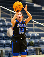 Perla Morales (14) of Rogers takes a 3 point shot against Bentonville West at Wolverine Arena, Centerton,  AR, Tuesday, January 12, 2021 / Special to NWA Democrat-Gazette/ David Beach