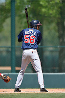 Atlanta Braves outfielder Victor Reyes (56) during a minor league spring training game against the Washington Nationals on March 26, 2014 at Wide World of Sports in Orlando, Florida.  (Mike Janes/Four Seam Images)