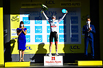Tadej Pogacar (SLO) takes over the young riders White Jersey at the end of Stage 4 of Tour de France 2020, running 160.5km from Sisteron to Orcieres-Merlette, France. 1st September 2020.<br /> Picture: ASO/Pauline Ballet | Cyclefile<br /> All photos usage must carry mandatory copyright credit (© Cyclefile | ASO/Pauline Ballet)