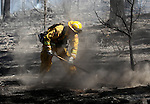 Crews extinguish an 80-acre brush fire near the Indian Creek Campground in Alpine County, on Monday, July 25, 2011. .Photo by Cathleen Allison