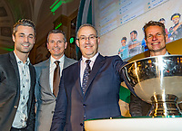 Rotterdam, Netherlands, 09 Februari, 2018, City Hall, Official Draw,  Mayor of Rotterdam Mr Abutaleb at the draw with Richard Krajicek (L) and Jan Siemerink  <br /> Photo: Tennisimages/Henk Koster
