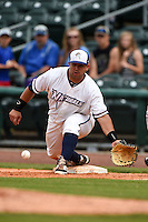 NW Arkansas Naturals first baseman Juan Graterol (35) waits for a throw during a game against the Corpus Christi Hooks on May 26, 2014 at Arvest Ballpark in Springdale, Arkansas.  NW Arkansas defeated Corpus Christi 5-3.  (Mike Janes/Four Seam Images)
