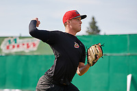 Batavia Muckdogs pitcher Remey Reed (32) warms up in the outfield during practice on June 12, 2019 at Dwyer Stadium in Batavia, New York.  Reed is scheduled to make the start in the teams home opener.  (Mike Janes/Four Seam Images)