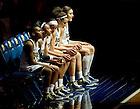 Feb 26, 2013; Kaila Turner (15), Jewel Loyd (32), Skylar Diggins (4), Kayla McBride (21) and Natalie Achonwa (11) wait to be introduced before the game against Syracuse...Photo by Matt Cashore/University of Notre Dame