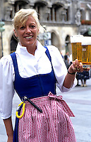 Beer waitress at Hofbrauhaus Bar near the Mariienplatz, Munich, Germany
