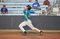 Davis Turner (21) (Lenoir Rhyne) of the Mooresville Spinners follows through on his swing against the Dry Pond Blue Sox at Moor Park on July 2, 2020 in Mooresville, NC.  The Spinners defeated the Blue Sox 9-4. (Brian Westerholt/Four Seam Images)
