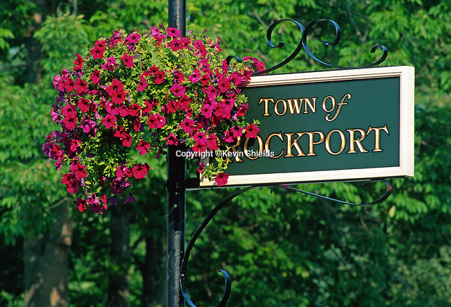 Welcome sign in Rockport, Maine, USA