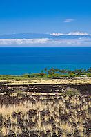 Haleakala volcanic mountain on Maui and KiholoBay, Kohala Coast, Big Island, Hawaii, USA, Pacific Ocean