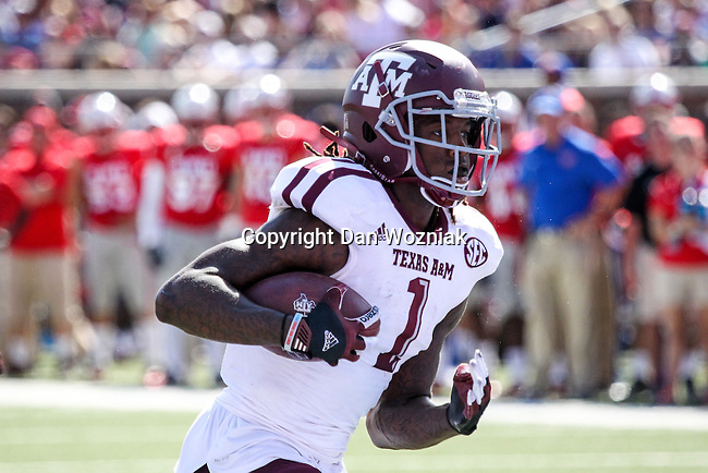 Texas A&M Aggies running back Brandon Williams (1) in action during the game between the Texas A&M Aggies and the SMU Mustangs at the Gerald J. Ford Stadium in Fort Worth, Texas. A&M leads SMU 38 to 3 at halftime.