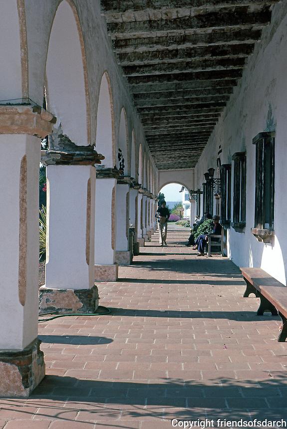 Oceanside: Mission San Luis Rey. Arcade. Photo '80.