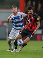 Queens Park Rangers' Dominic Ball (left) vies for possession with Bournemouth's Dominic Solanke (right) <br /> <br /> Photographer David Horton/CameraSport<br /> <br /> The EFL Sky Bet Championship - Bournemouth v Queens Park Rangers - Saturday 17th October 2020 - Vitality Stadium - Bournemouth<br /> <br /> World Copyright © 2020 CameraSport. All rights reserved. 43 Linden Ave. Countesthorpe. Leicester. England. LE8 5PG - Tel: +44 (0) 116 277 4147 - admin@camerasport.com - www.camerasport.com