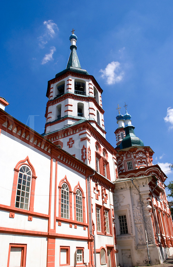Beautiful old St Nikolays Russian Orthodox Church downtown in Irkutsk in Siberia Russia