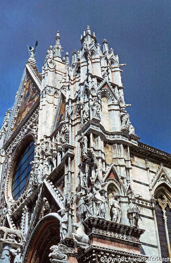 Siena:  Siena Duomo--Upper facade.  Gothic detailing. 2nd half of XIV century.  Photo '83.