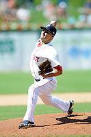 Pawtucket Red Sox pitcher Brayan Villarreal  #22  during a game versus the Louisville Bats at McCoy Stadium in Pawtucket, Rhode Island on August 14, 2013.  (Ken Babbitt/Four Seam Images)